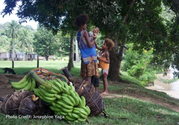 New Guinea Family with bananas