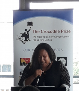 Gretel Matawan presenting at Crocodile Prize ceremony