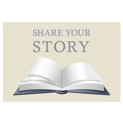 Book opened with Share Your Story written above
